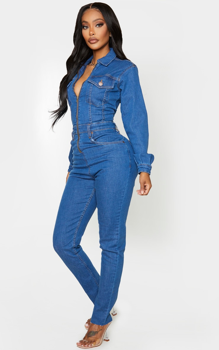 Shape Mid Blue Wash Denim Zip Front Jumpsuit 3