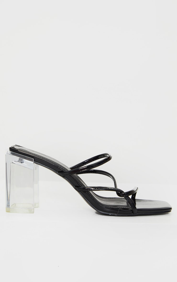 Black Clear Block Heel Square Toe Side Knot Mules 3
