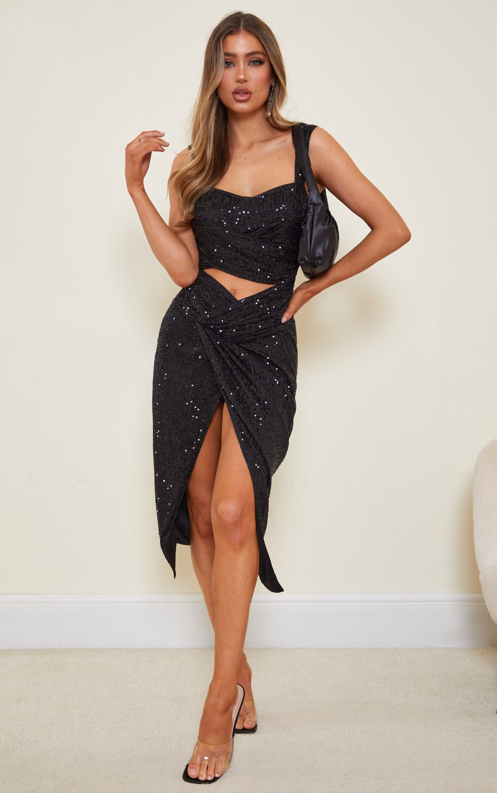 Black Sequin Cut Out Twist Detail Sleeveless Midi Dress 1