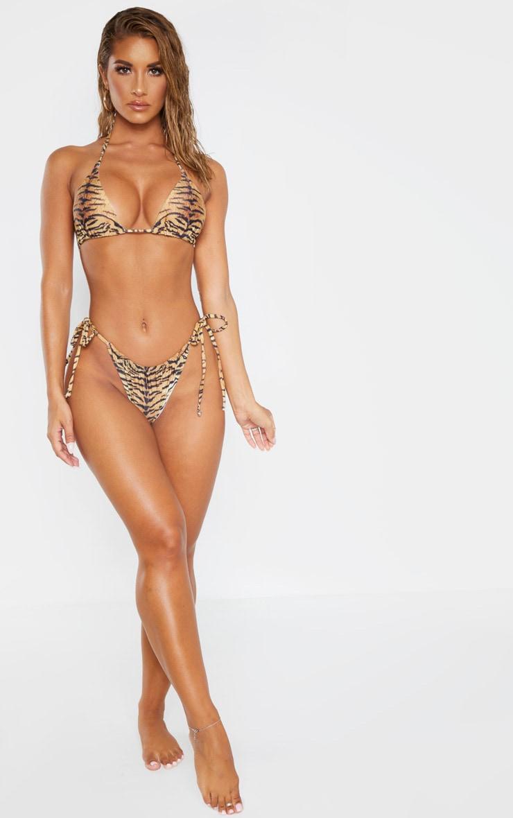 Brown Tiger Adjustable String Tie Padded Triangle Bikini 4