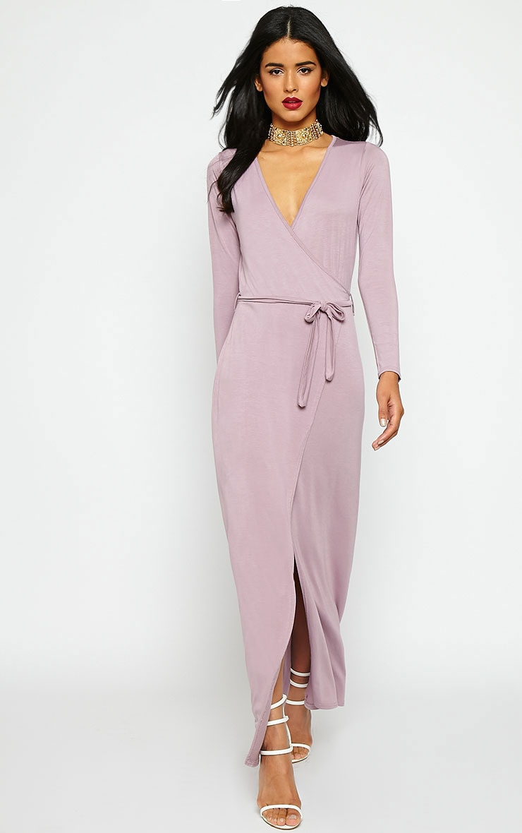 Pennie Mauve Wrap Front Maxi Dress 3