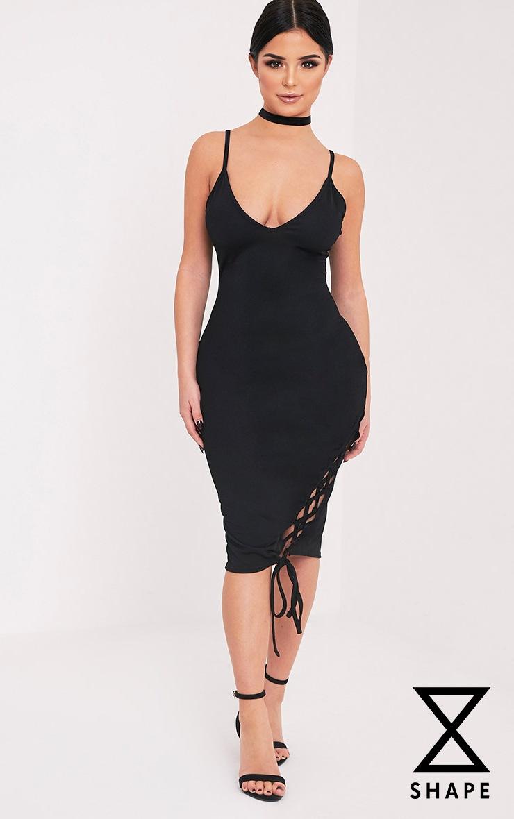 Shape Hollie Black Lace up Side Midi Dress 1