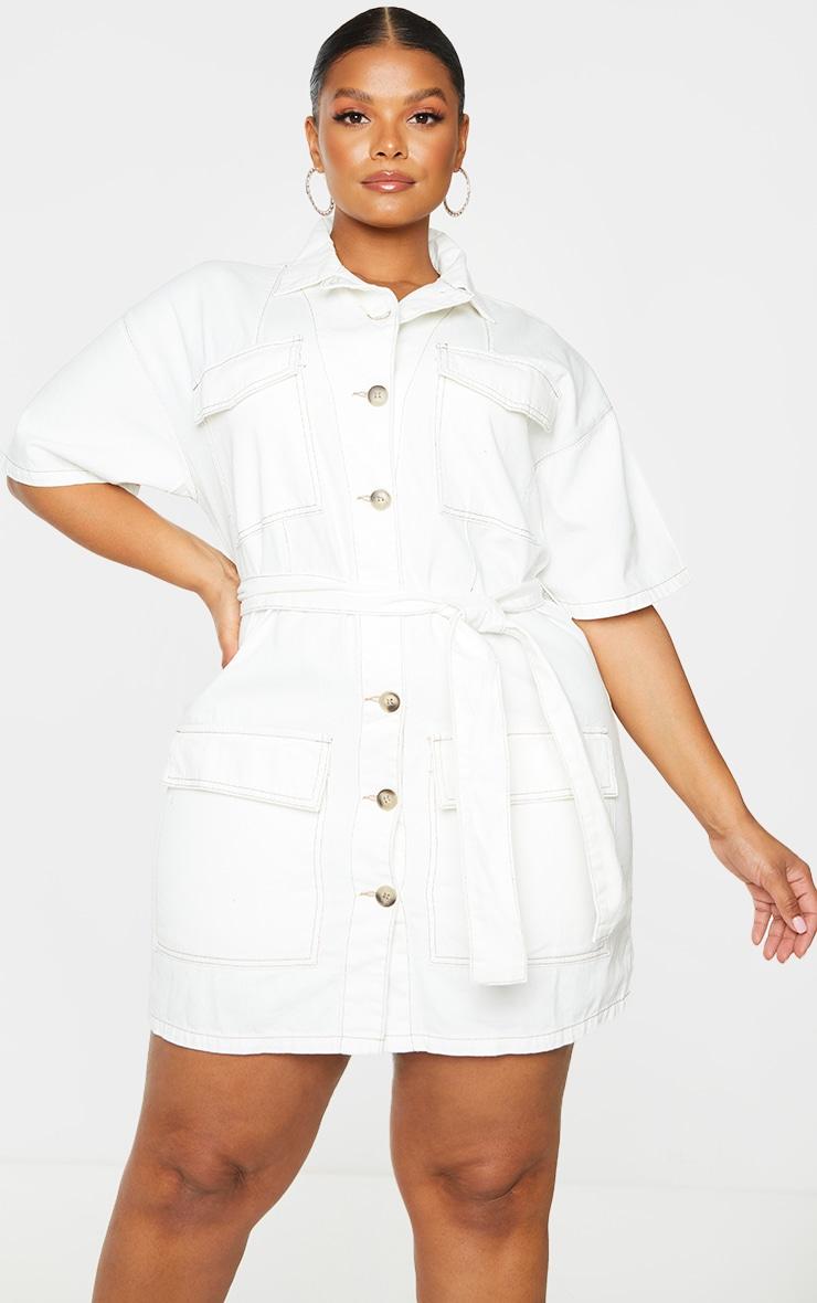 Plus Ecru Tie Waist Button Up Denim Dress 1