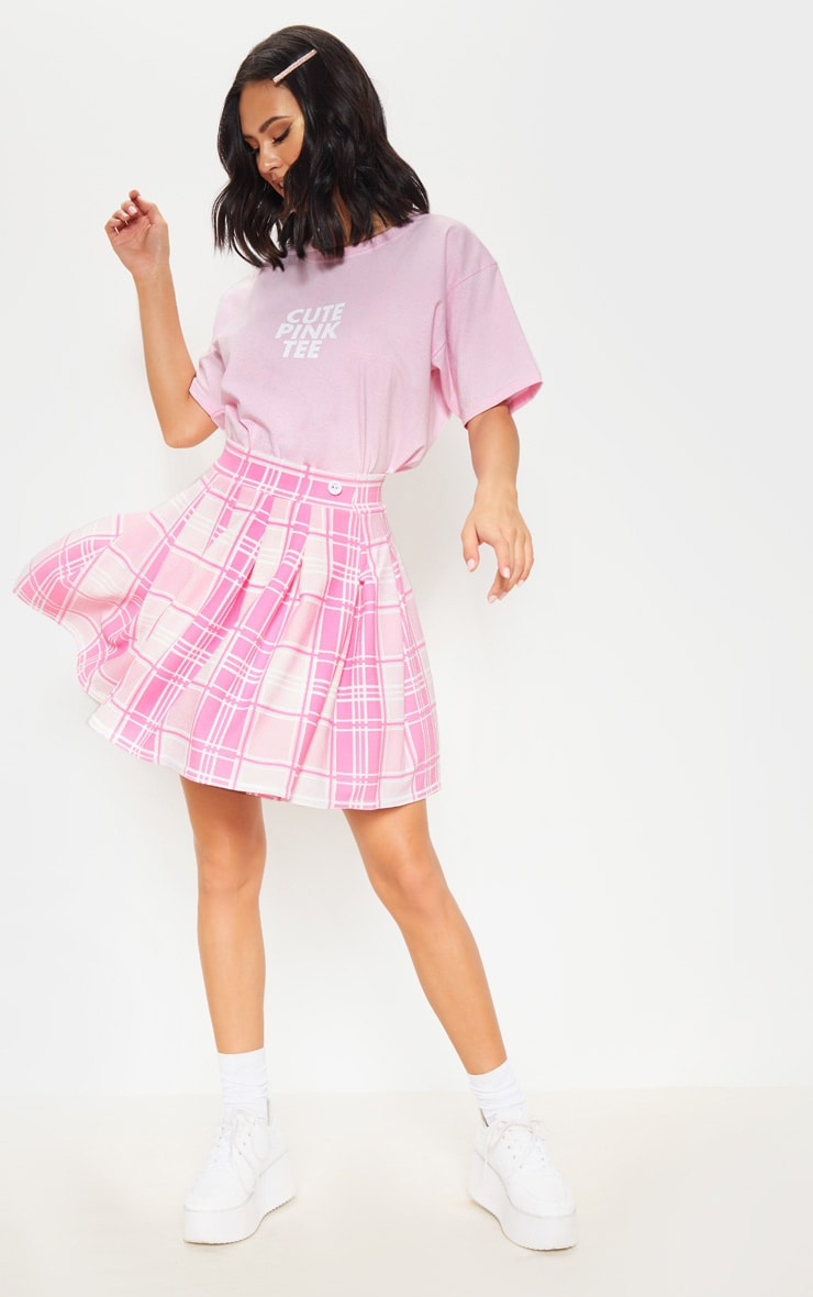 Pastel Pink Check Print Pleated Side Split Tennis Skirt 2