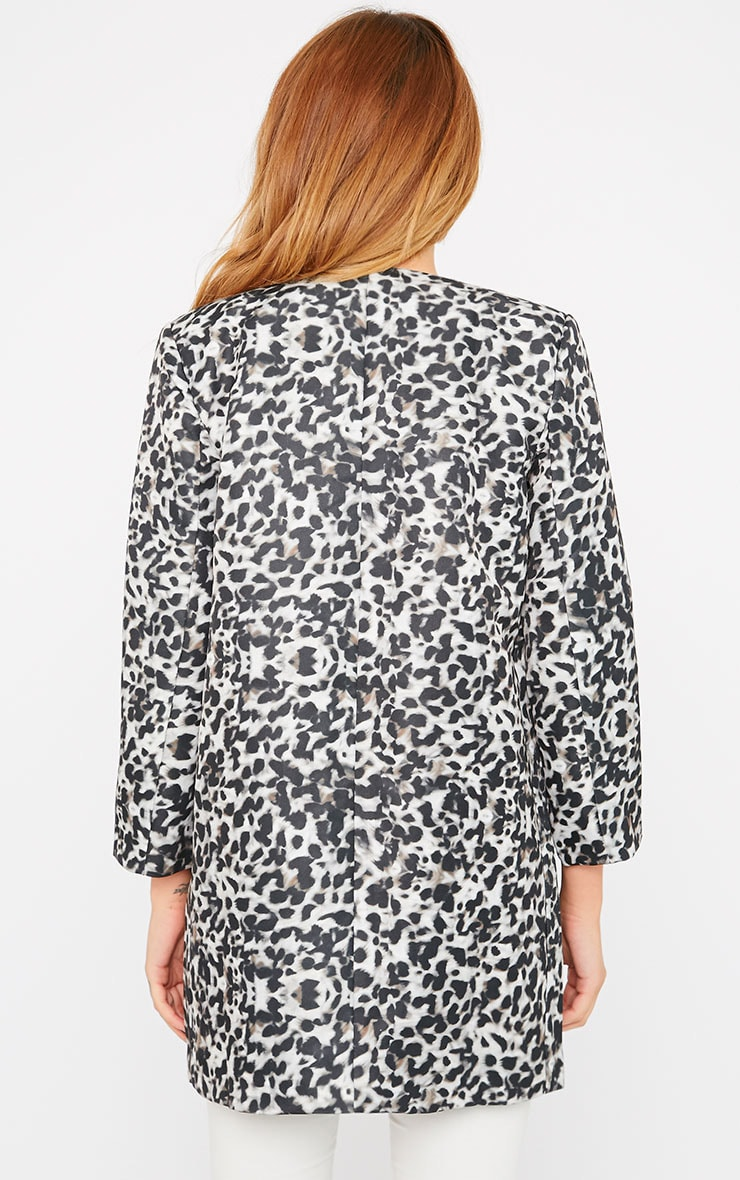 Orianna Grey Leopard Collarless Coat  2