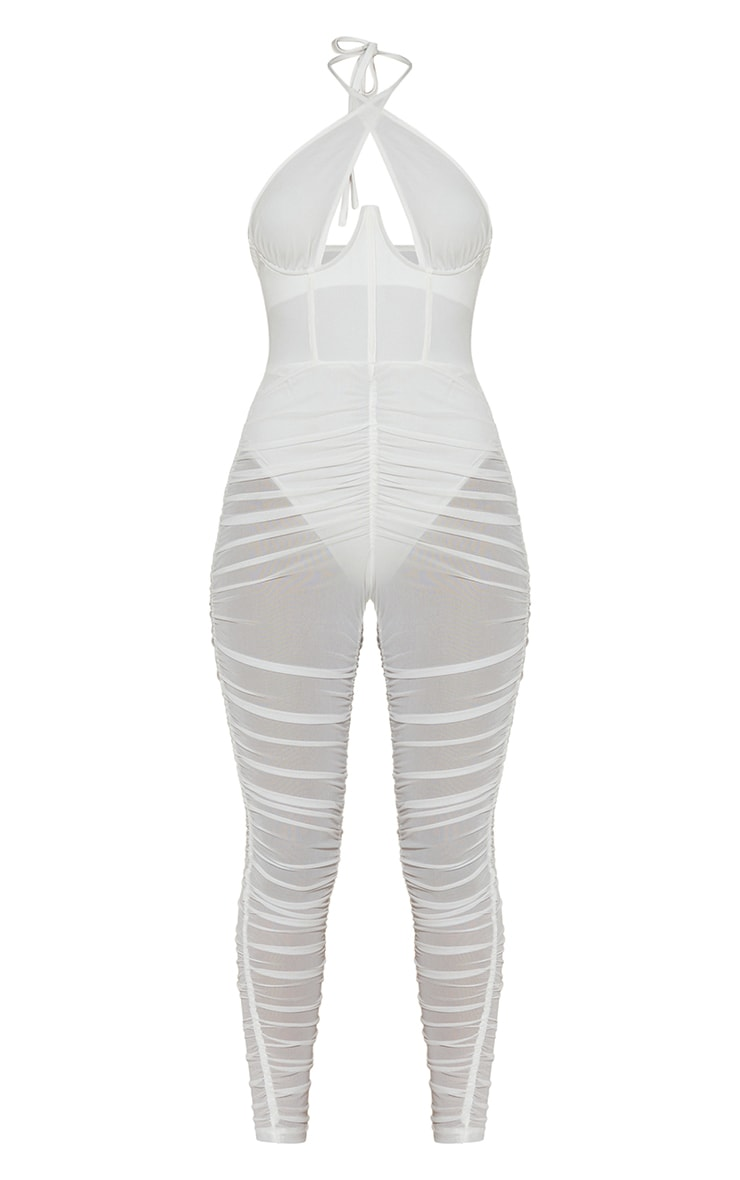 White Cross Bust Corset Mesh Ruched Jumpsuit 5