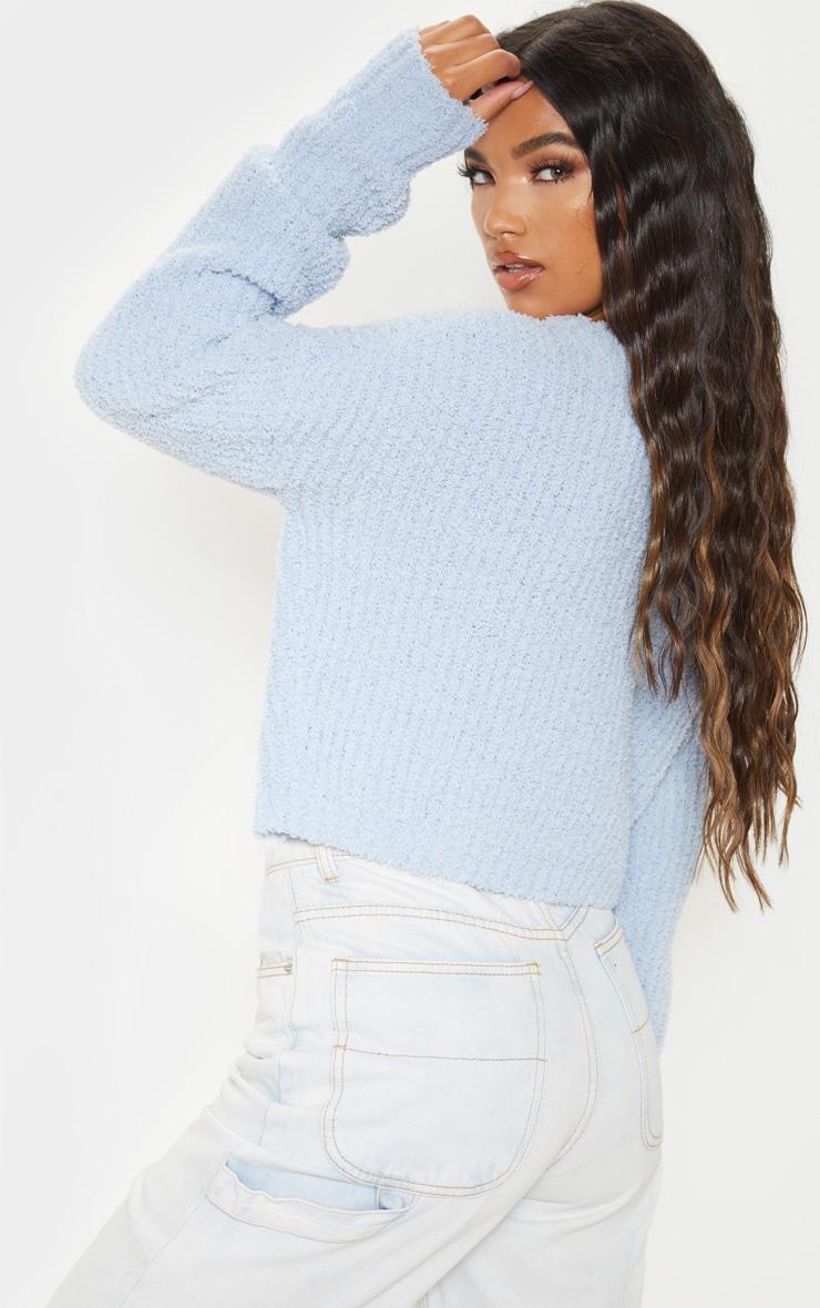 Blue Textured Soft Knit Crop Jumper 2