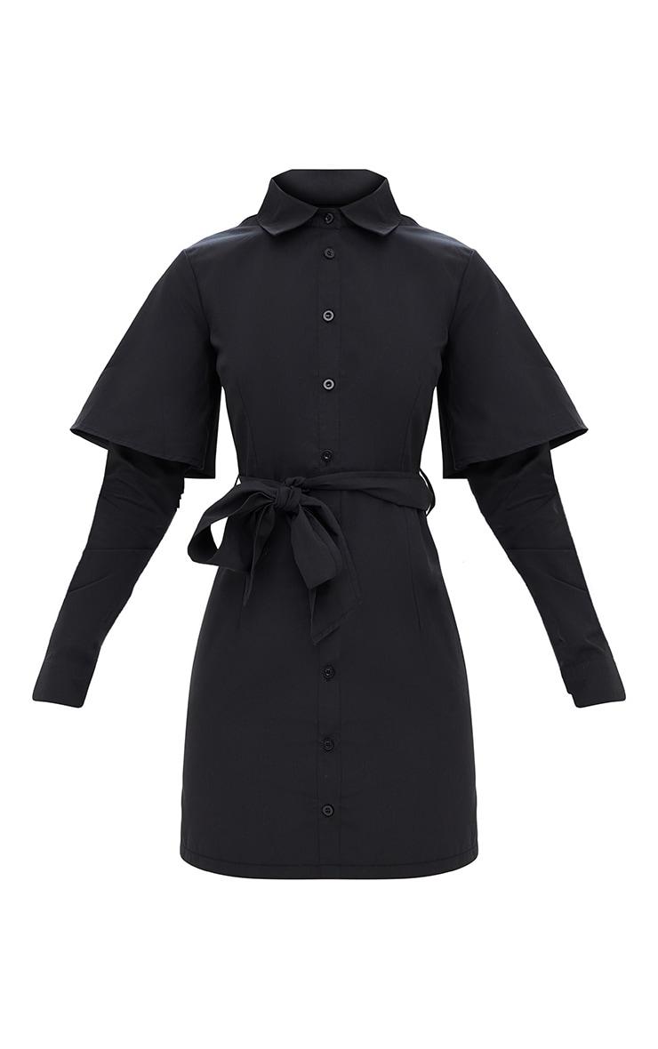Black Double Cuff Tie Waist Shirt Dress 3
