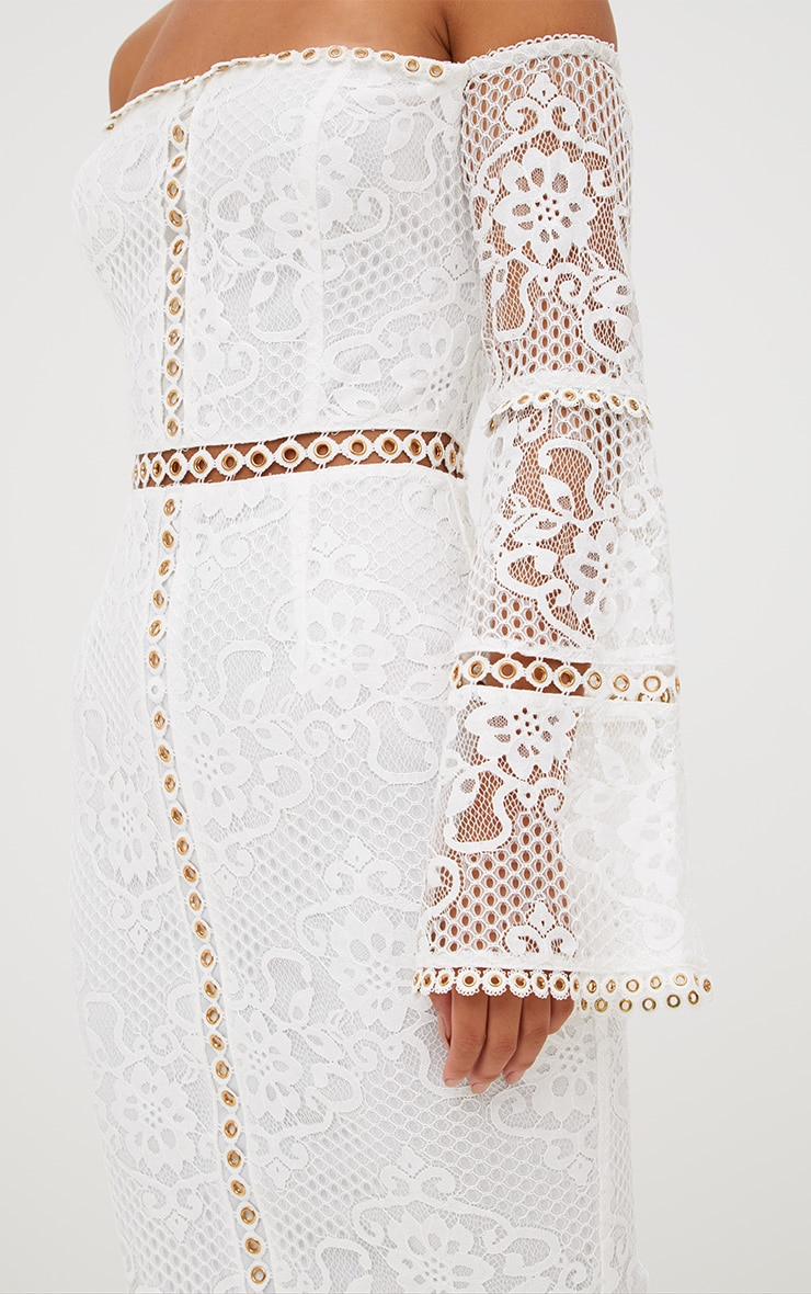 White Lace Eyelet Detail Bardot Midi Dress 6