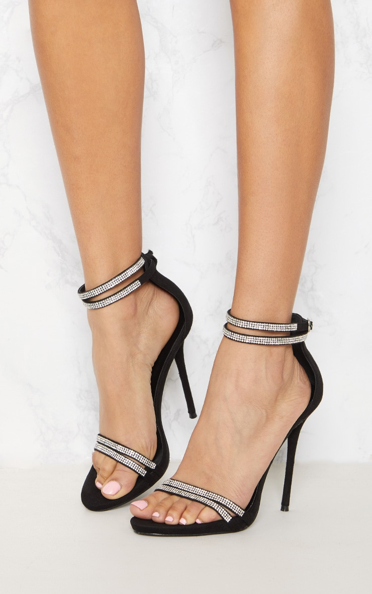 Black Diamante Jewel Strappy Sandal 2
