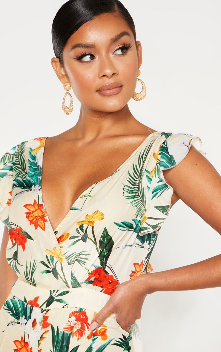 Nude Tropical Print Frill Sleeve Tie Back Jumpsuit 5