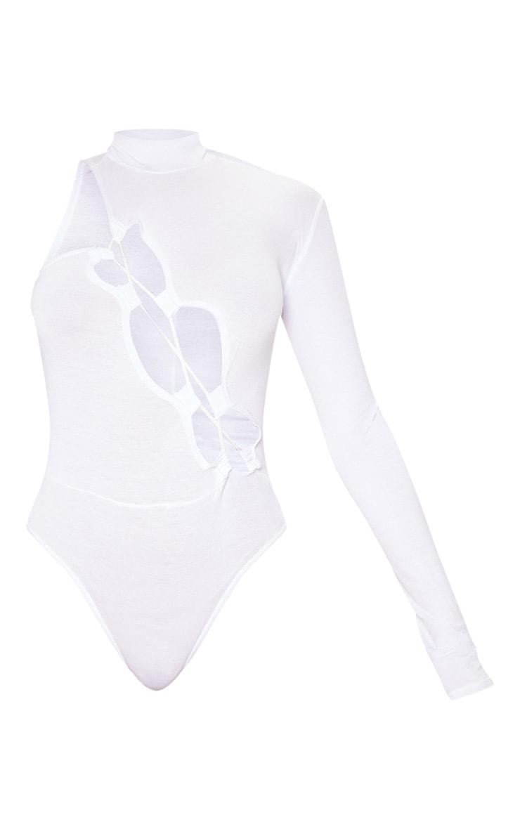 White Jersey One Shoulder Asymmetric Lace Up Bodysuit  3