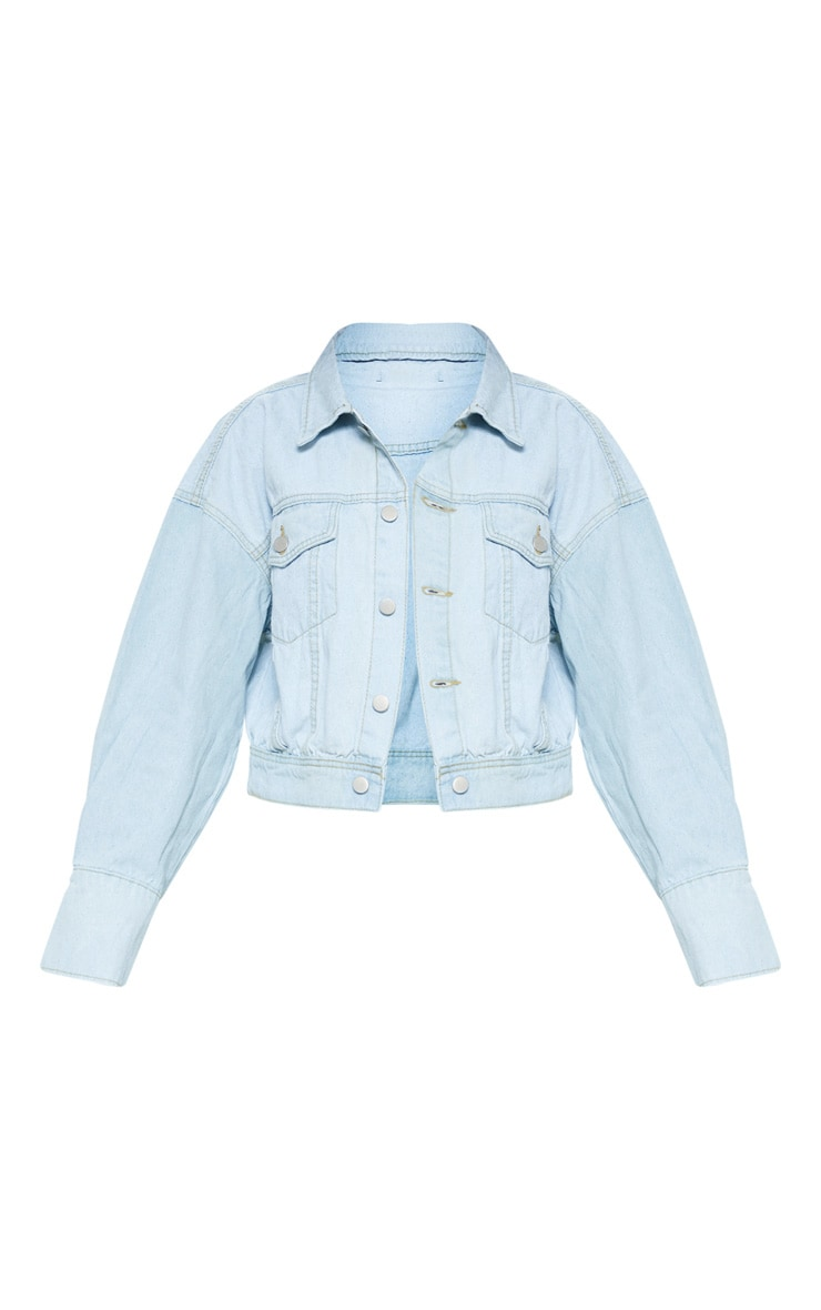 Light Wash Balloon Sleeve Denim Jacket  3