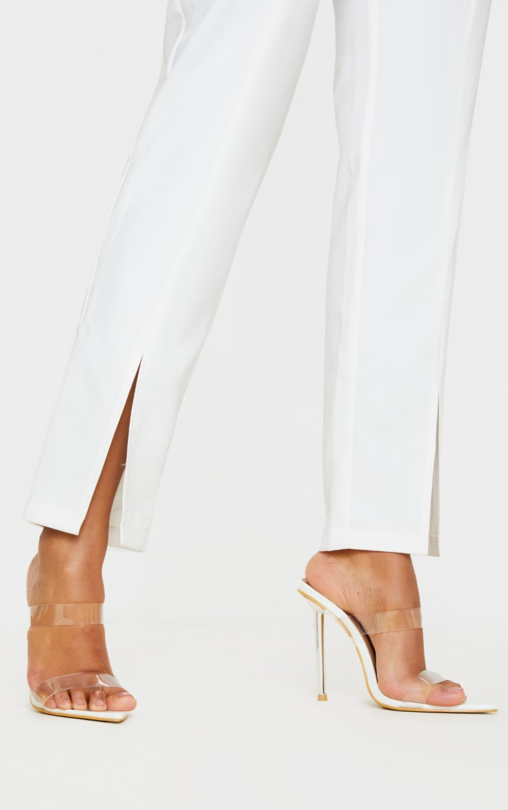 White Twin Strap Metal Heel Mule 1