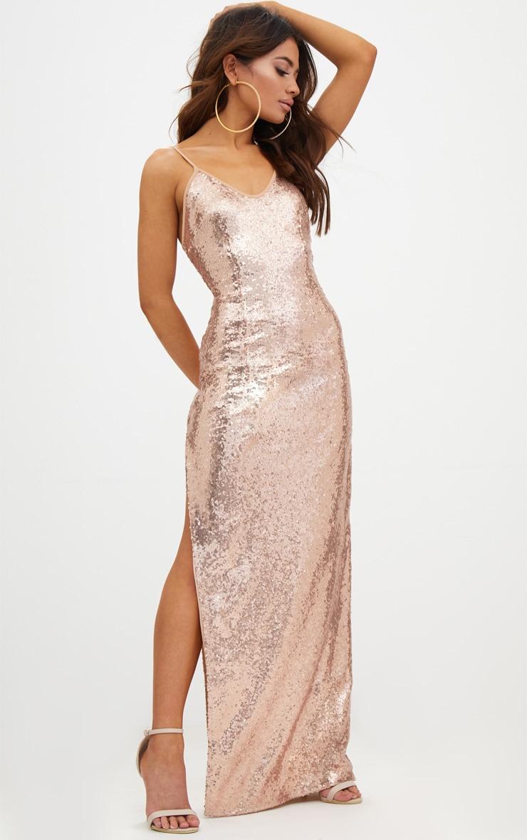 Petite Rose Gold Side Split Sequin Maxi Dress 4