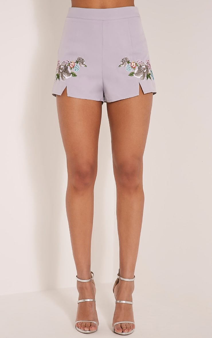 Angie Petite Grey Floral Embroidered Shorts 2