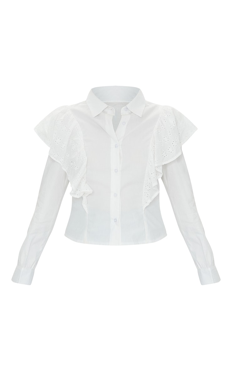 Petite White Broderie Anglaise Frill Blouse 5