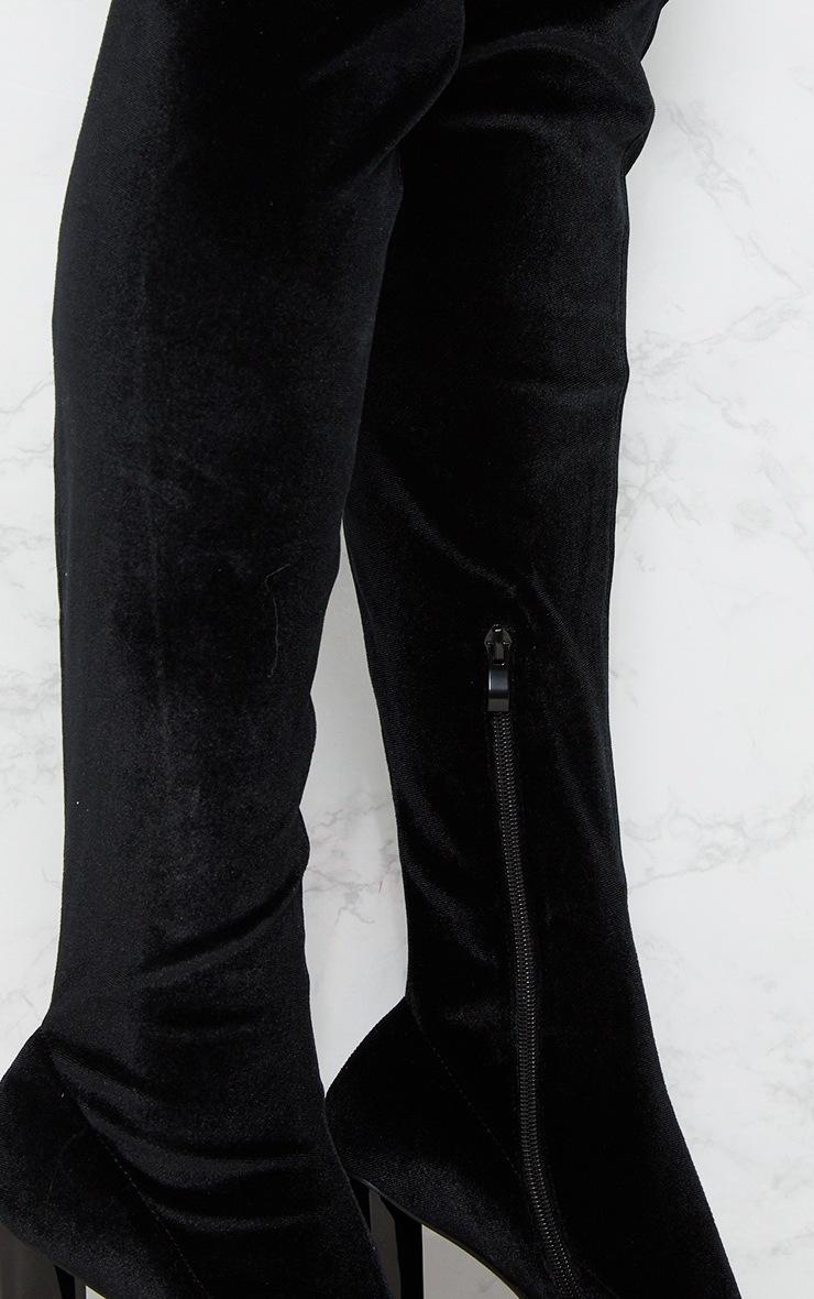 Black Velvet Thigh High Boot 5