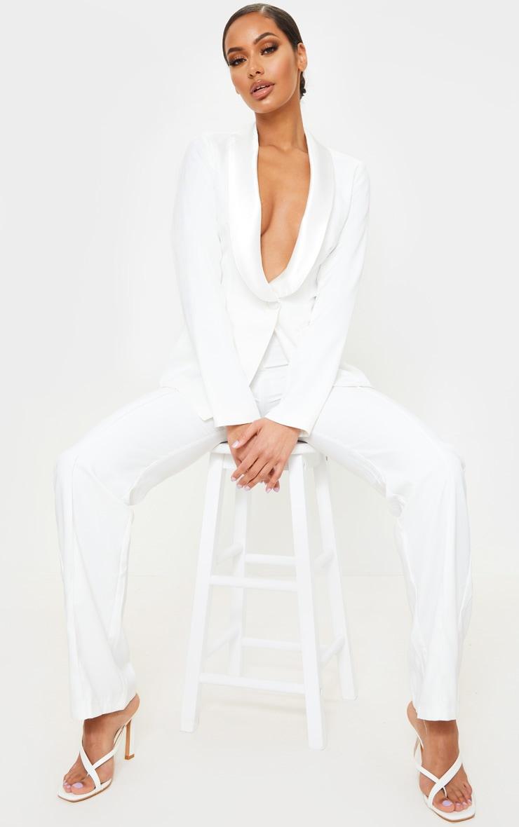 White Backless Satin Contrast Blazer 1