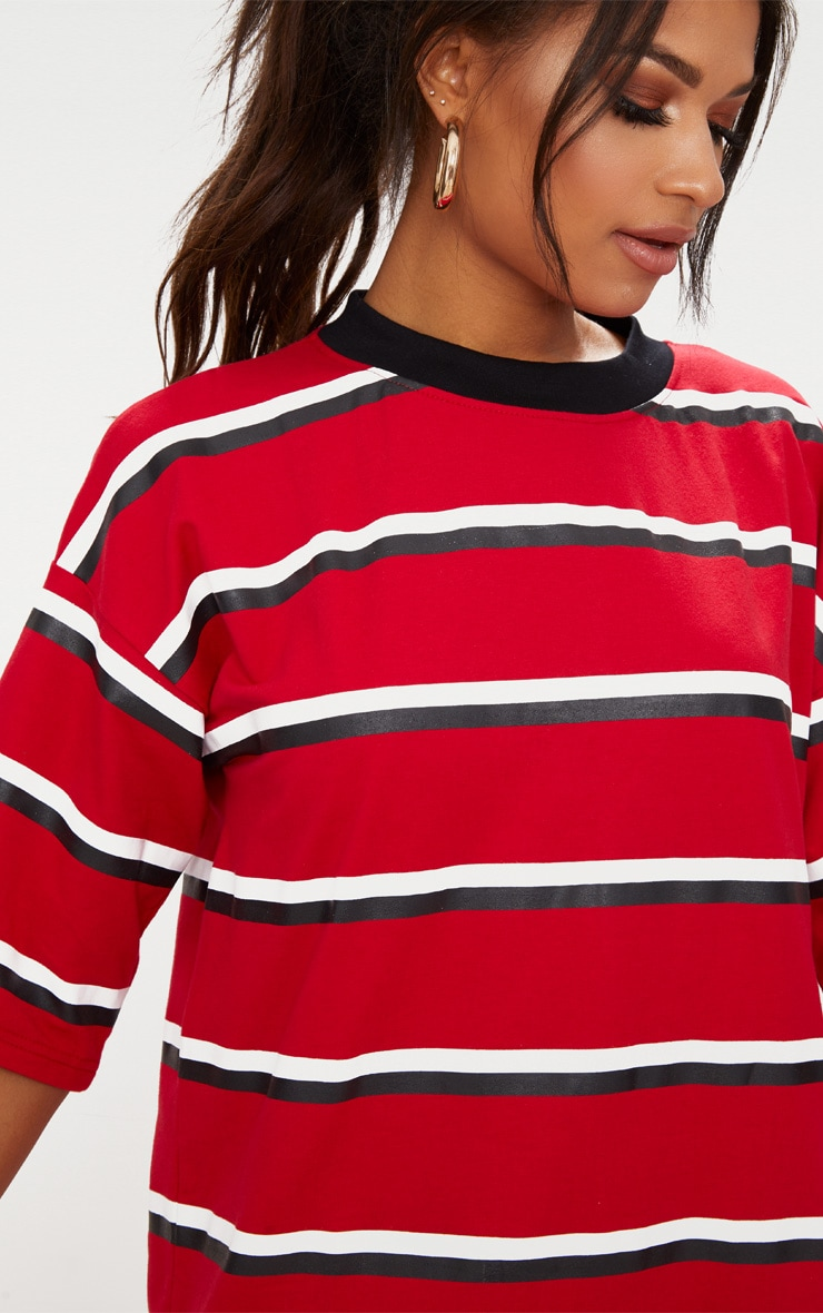 Red Contrast Stripe Oversized Boyfriend T Shirt Dress 4