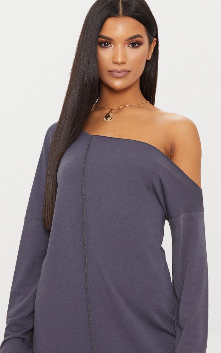 Charcoal Grey Middle Seam Off The Shoulder Jumper Dress 2