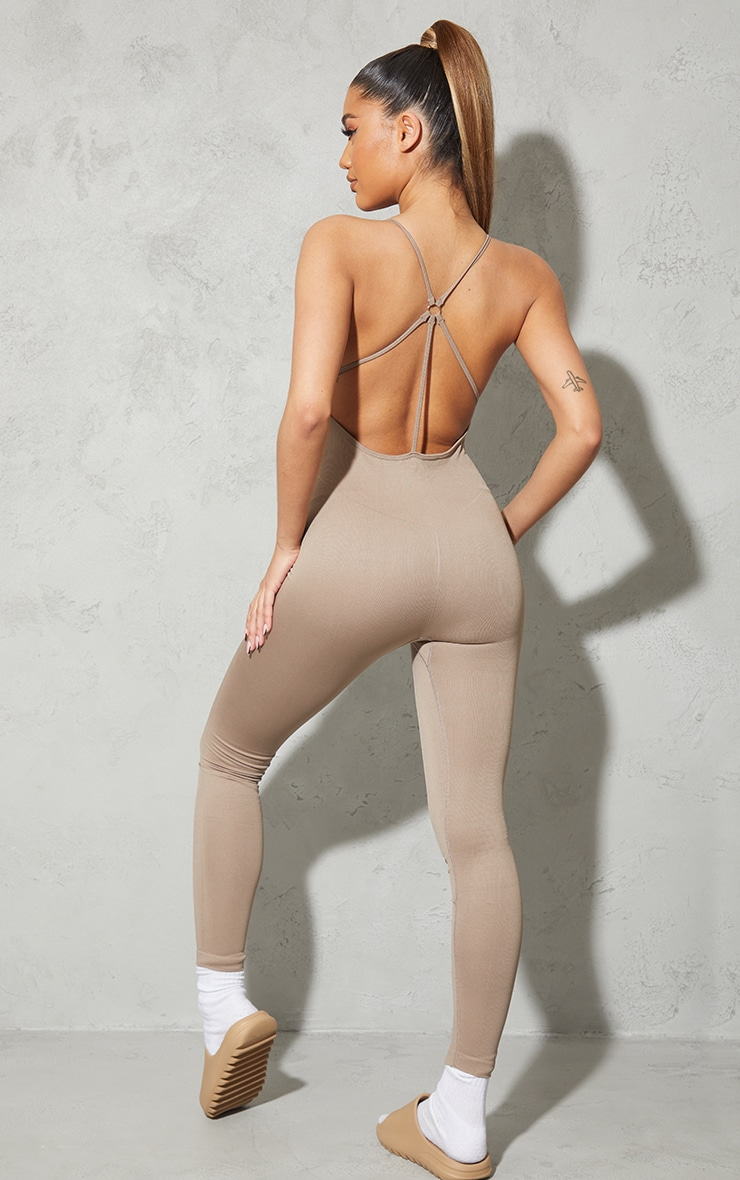 Taupe High Neck Strappy Back Seamless Unitard 1