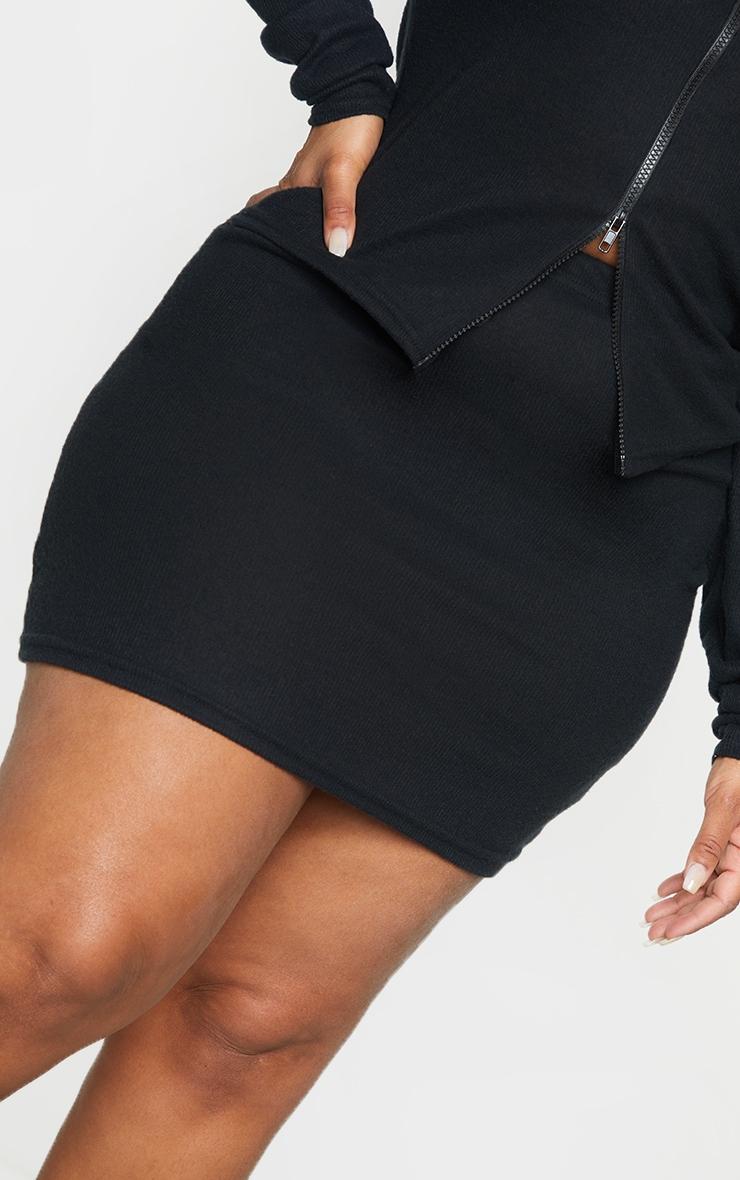 Plus Black Soft Brushed Rib Mini Skirt 5