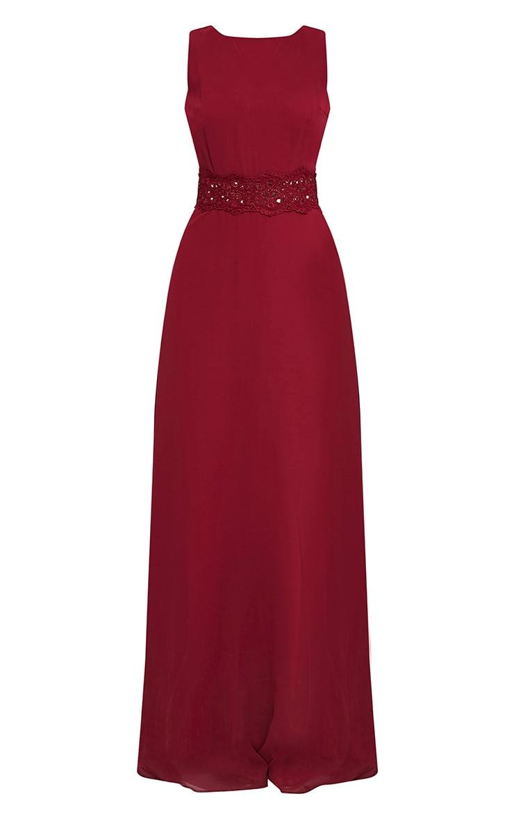Caitlan Burgundy Lace Insert Maxi Dress 3