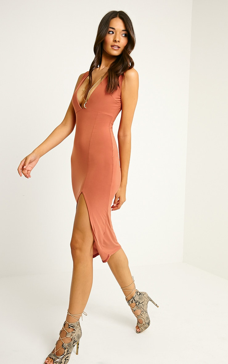 Christa Rust Sleeveless Plunge Split Front Midi Dress 4