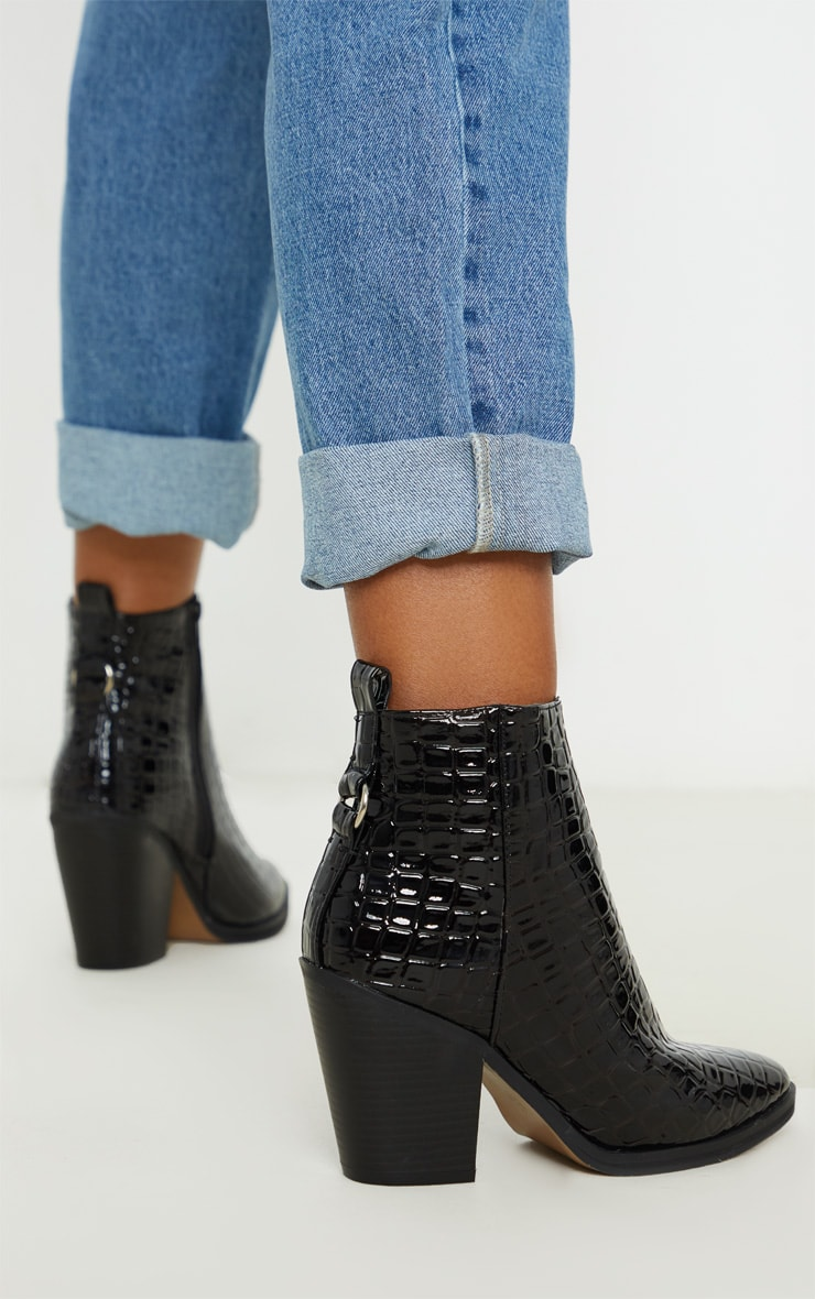 Black Patent Croc Western Ankle Boot 2