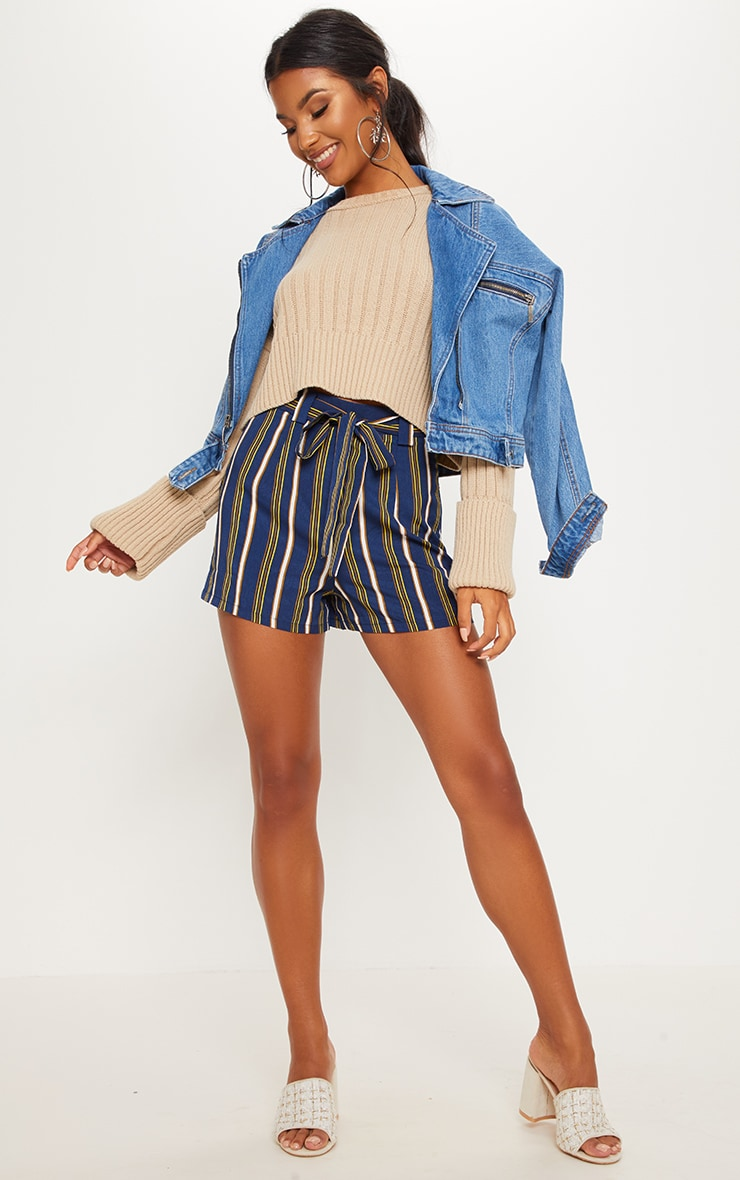 Navy Stripe Tie Waist Short 4