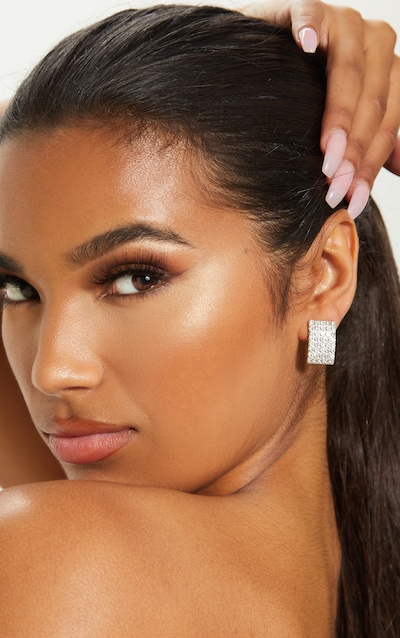 Silver Crystal Diamante Rectangle Stud Earring