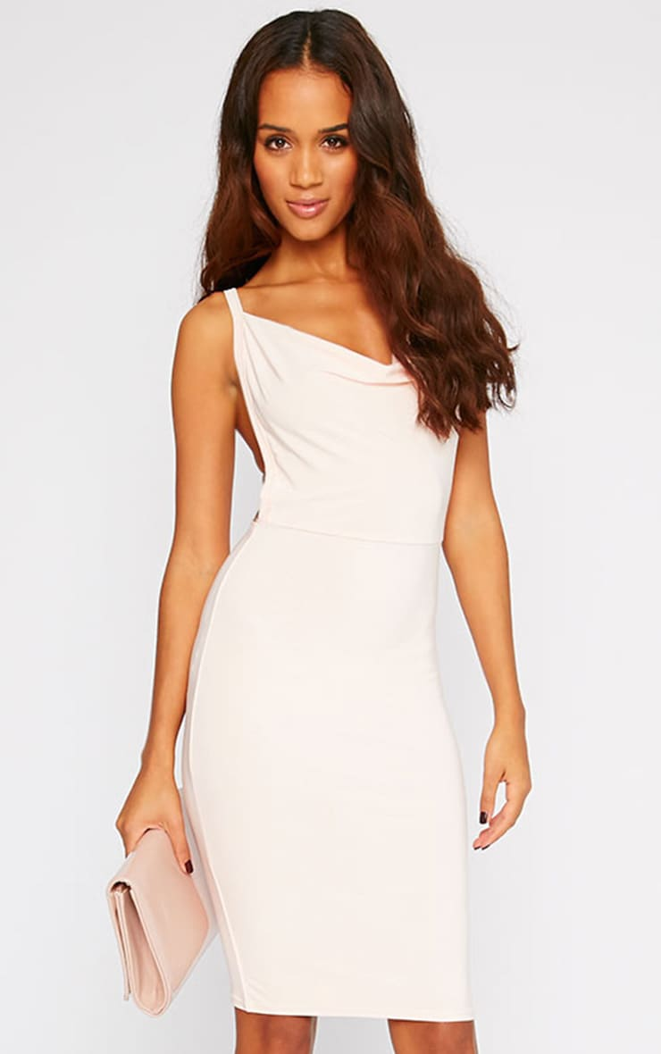 Orion Nude Slinky Cowl Neck Dress 1