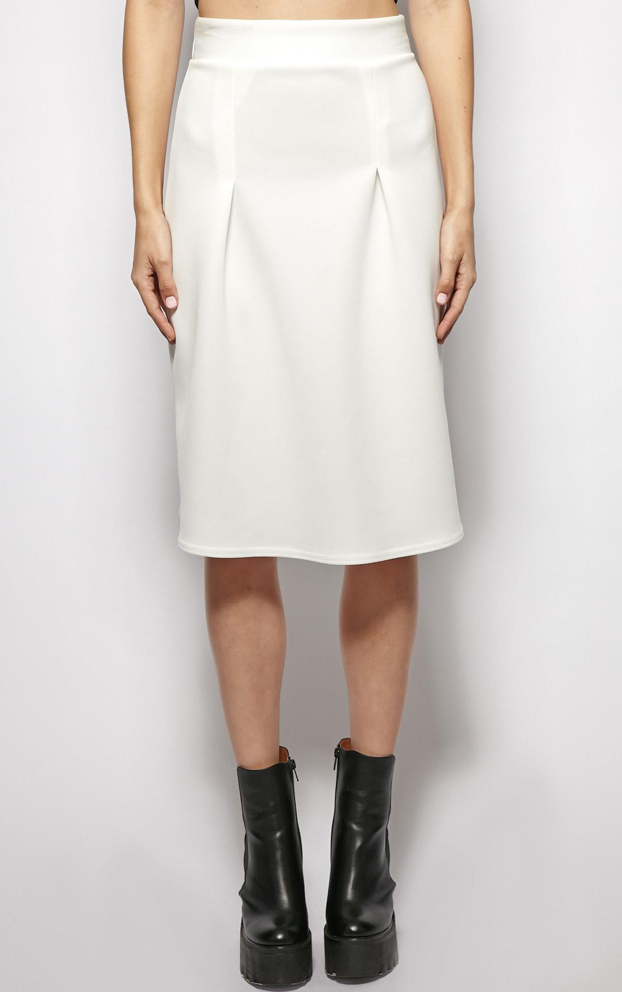 Clarissa White A Line Midi Skirt  3