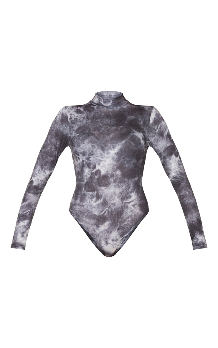 Black Jersey Long Sleeve Tie Dye Bodysuit 5