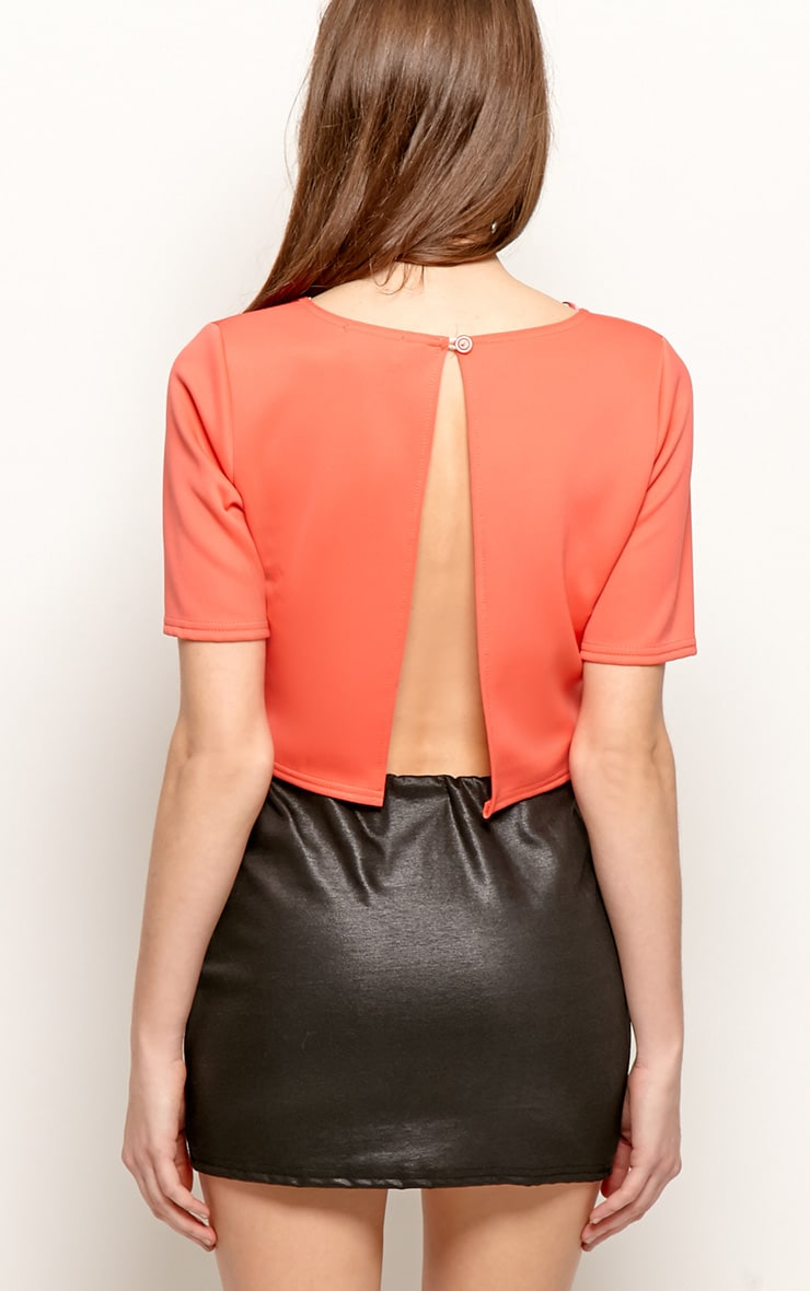 Eliza Coral Scuba Crop Top 2