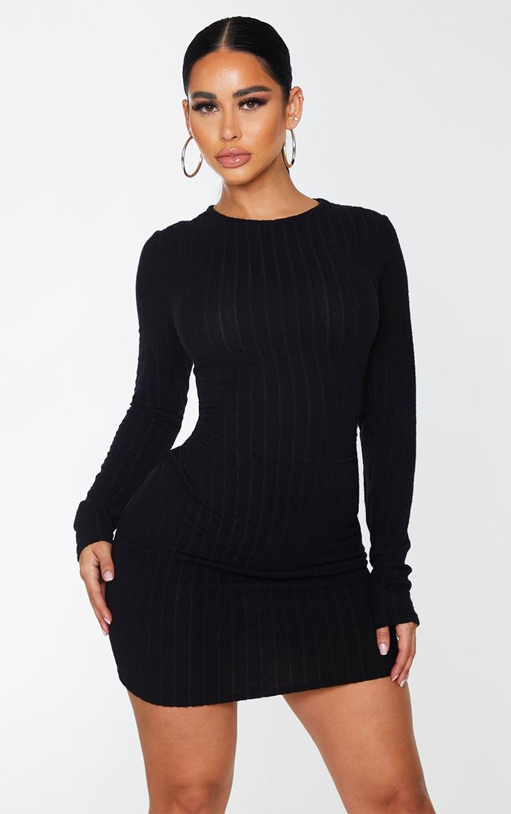Shape - Robe moulante noire côtelée douce à manches longues 1