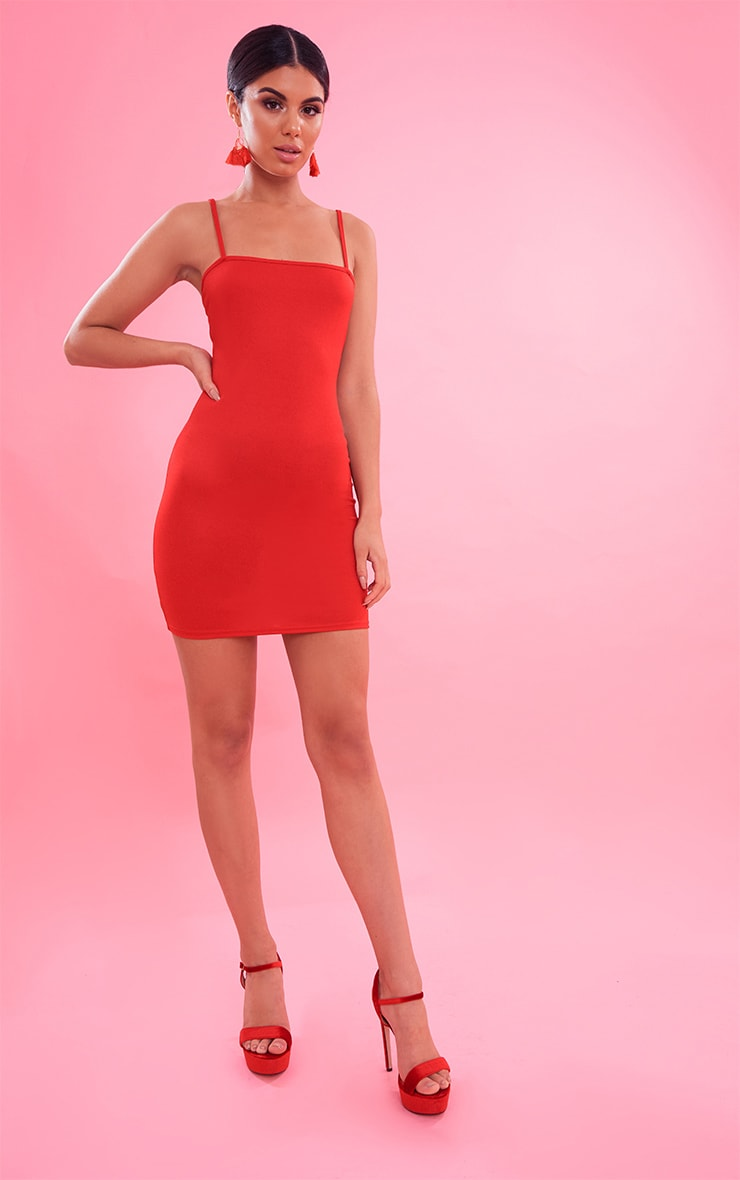 Red Crepe Strappy Straight Neck Bodycon Dress 5
