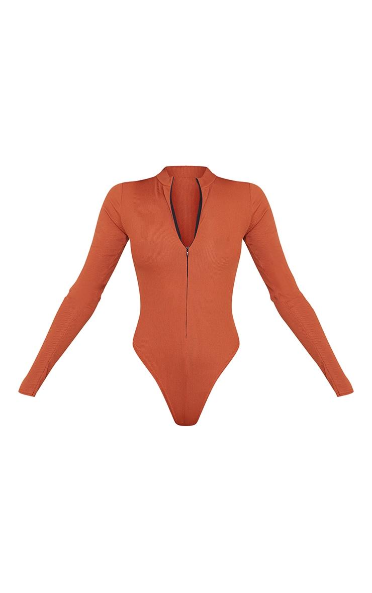 Rust Rib Zip Up Long Sleeve Bodysuit 5