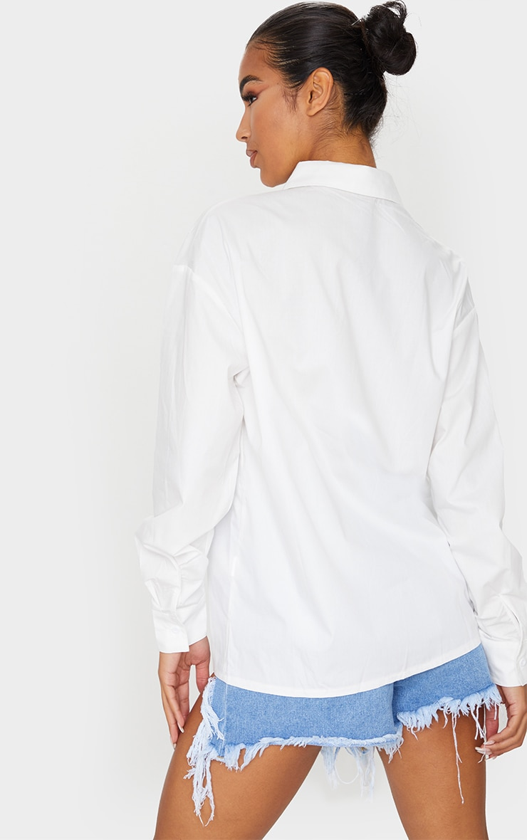 White Button Cotton Oversized Shirt 2
