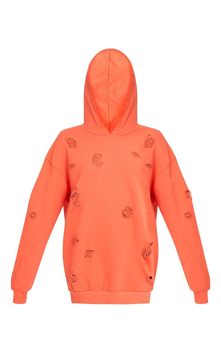 Raular Orange Distressed Hooded Sweater Dress 3
