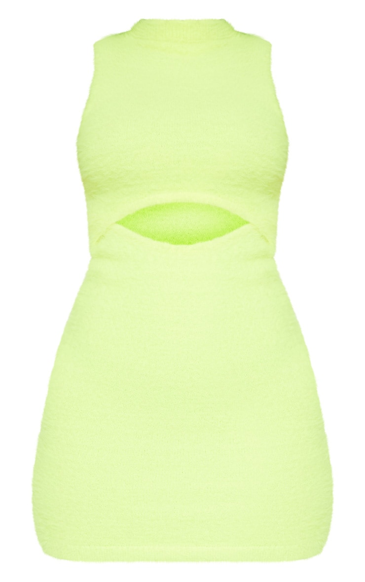 Neon Lime Fluffy Knit Cut Out Mini Dress  3