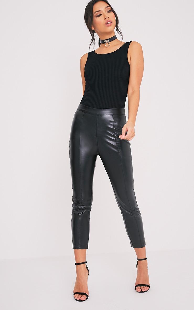 Marria Black Ribbed Bodysuit 5