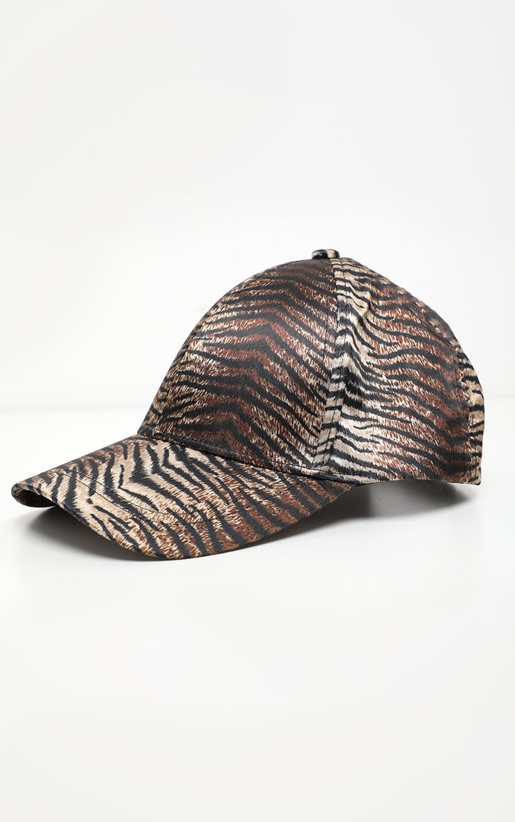Brown Tiger Printed Satin Baseball Cap 3