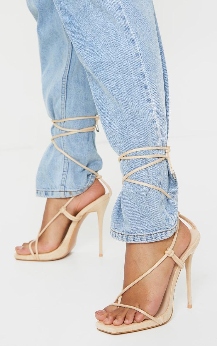 Light Nude Thin Strap Square Toe Strappy Sandal