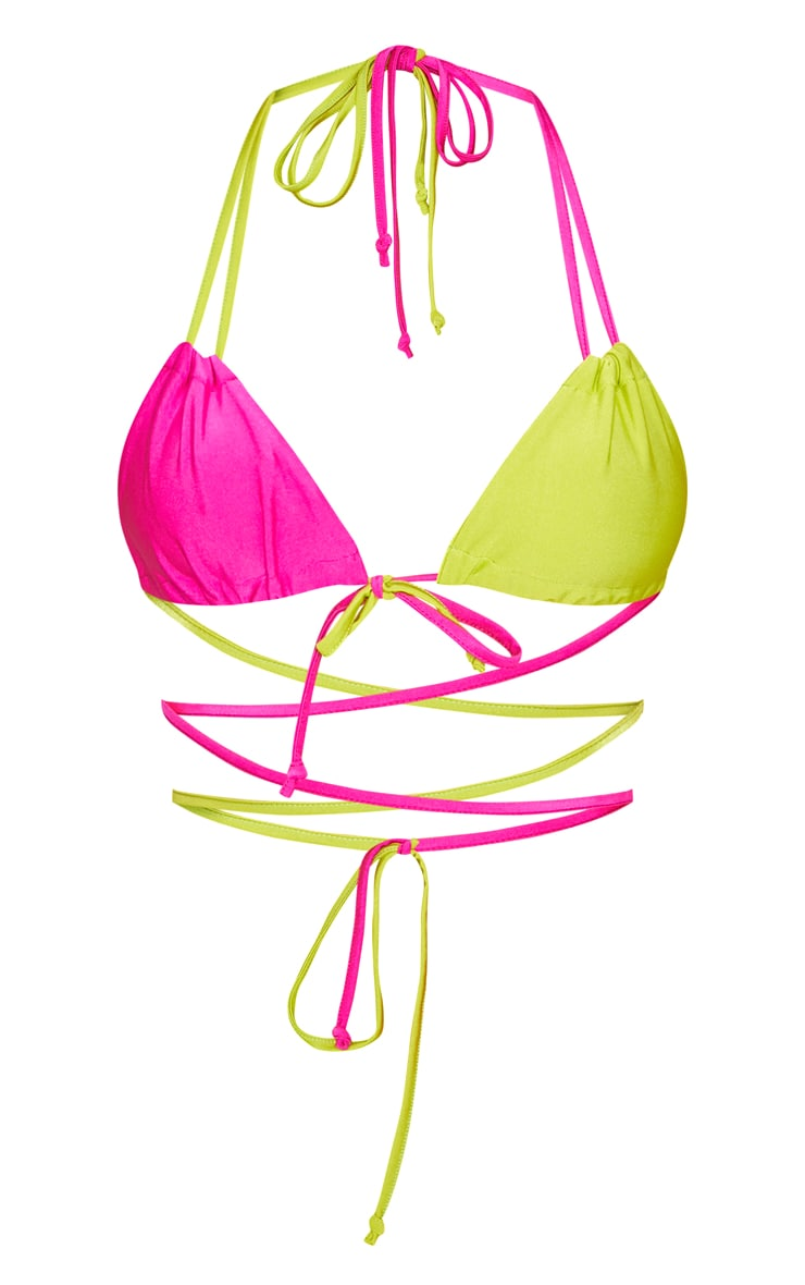 Lime Contrast Tie Front Bikini Top 3