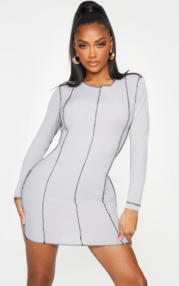 Shape Grey Rib Overlock Seam Detail Bodycon Dress 1