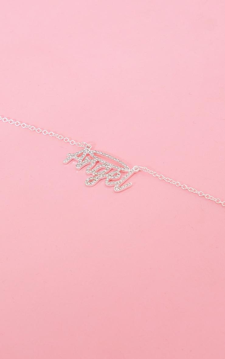Silver Diamante Angel Necklace 4