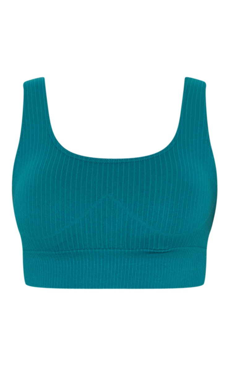 Emerald Green Ribbed Seamless Sports Bra 3