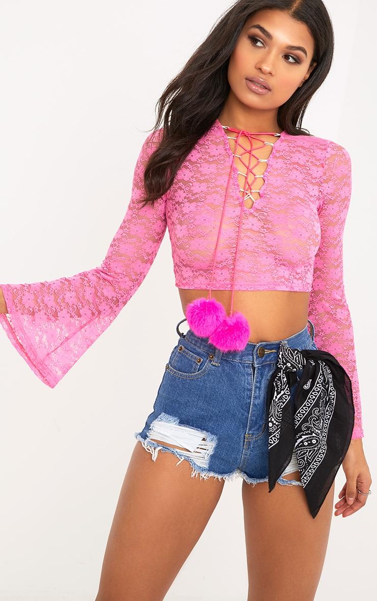 Izobell Pink Lace Pom Pom Top  2